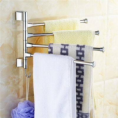 Towel Holder 4 Swivel Bars Stainless Steel Bathroom Bath Rack Rail Hanger Shelf