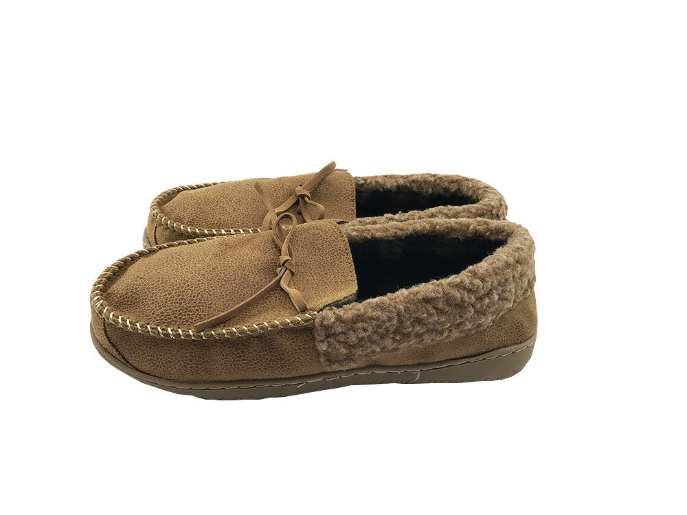 Mens Suede Shearling Moccasin Slippers Moc Toe Slip On Shoes Size 9 Camel