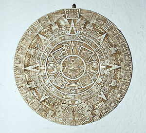 "AZTEC ART 10 1/2"" ROUND BEIGE AZTEC CALENDER VERY UNIQUE COLOR MADE IN MEXICO!!!"