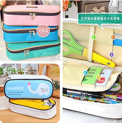 New Women Travel Makeup Bags School Kid Canvas Pen Bag Pencil Case Cosmetic Bags
