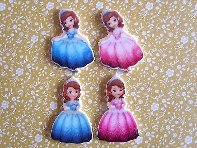 4 x Pretty Princess Anna Flatback Planar Resin Embellishment Hair bow Craft UK