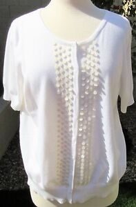 Talbots-Petites-Size-PXL-White-100-Pima-Cotton-Knit-White-Blouse-Top-Shirt