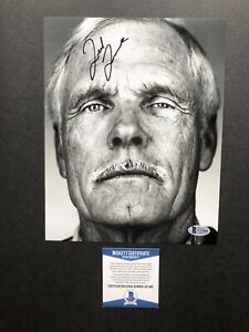Ted Turner autographed signed 8x10 photo Beckett BAS COA CNN Creator TBS TNT Wow