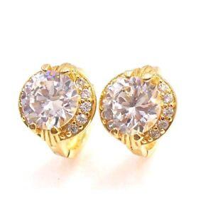 Women-Hoop-Earrings-18K-Yellow-Gold-Plated-Clear-CZ-Cubic-Zircon-Luxury-UK