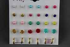 Set Pack of 15 pair tiny hoops plastic crystal bead ball stud post earrings