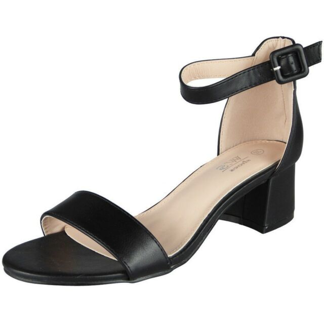 61d10436524e6 Womens Ankle Strap Shoes Ladies Shiny Party Buckle Chunky Low Heel ...