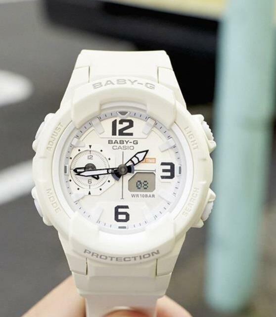 Casio Baby-G BGA-230-7B2 Analog Digital Ladies Beige Resin Strap Alarm Watch