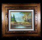 Original Vintage Wooded Landscape Signed Marin Framed Board Canvas Oil Painting