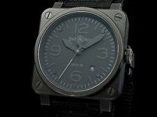 BELL&ROSS Aviation Phantom Mens Watch BR03-92 Auto Black SS PVD Excellent #0572