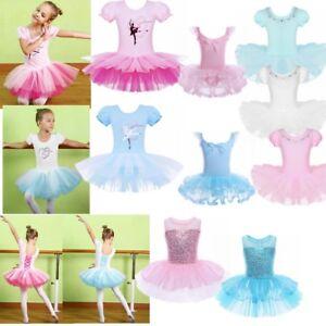 Age-2-14-Girls-Children-Ballet-Dance-Dress-Tutu-Skirt-Leotard-Gymnastics-Costume