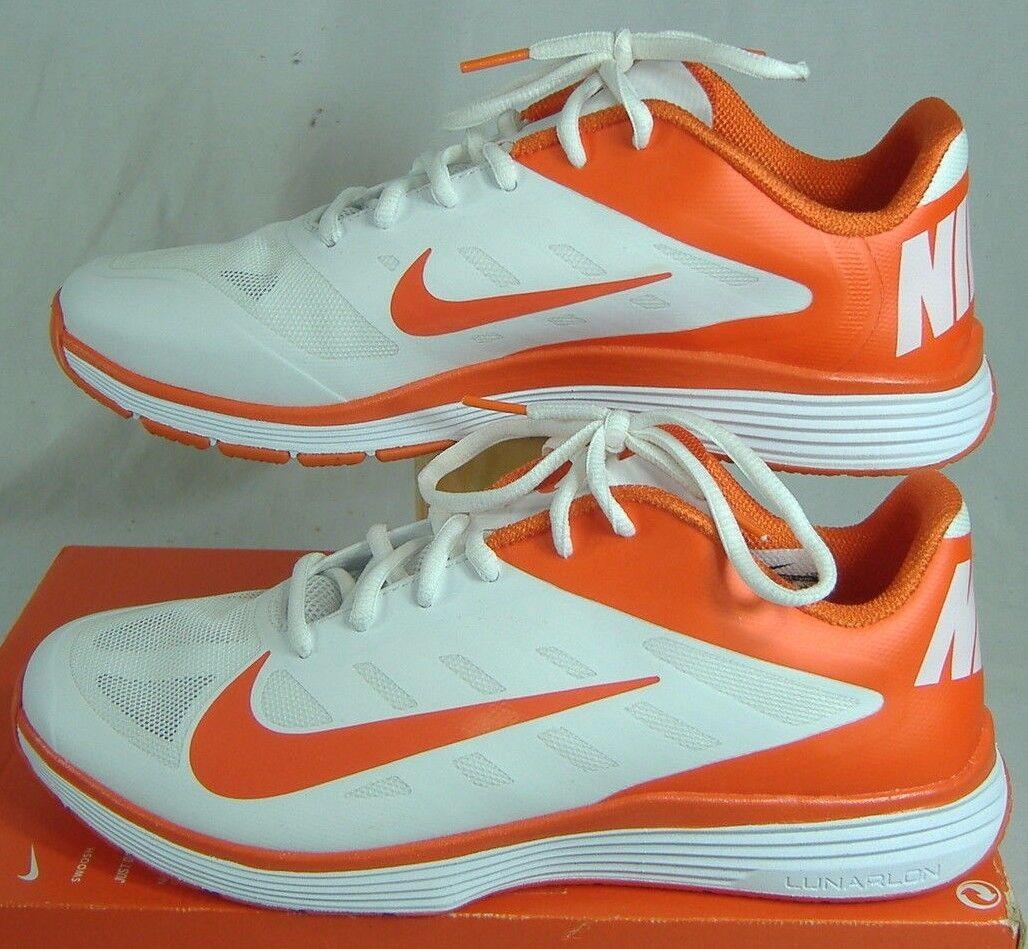 New Mens 12.5 NIKE Lunar Vapor Trainer TB White Orange Run Shoes 100 524278-181