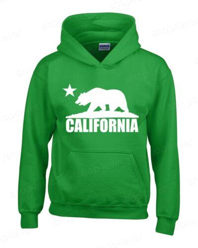 California Bear White Hoodie Cali Souvenir State Map Republic CA Sweatshirts