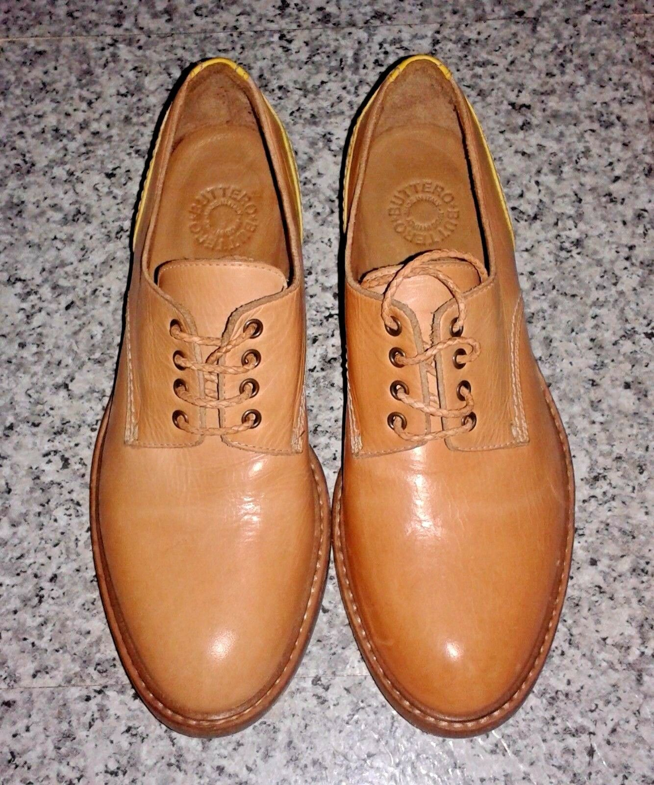 BUTTERO B4840 Leather Limited Edition Tan Yellow Lace Up shoes