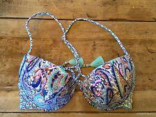Blue Paisley Foil 34C Victoria's Secret FABULOUS PUSH UP  Bikini Swimsuit Top VS