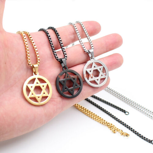 16-32/'/' star of David Design Stainless Steel 2.4mm box Chain Pendant Necklace