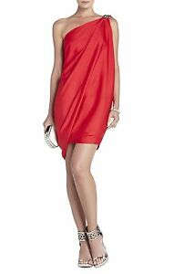 NEW-BCBG-MAX-AZRIA-RED-BERRY-ONESHOULDER-DRAPED-JAG6V956-M141-DRESS-SIZE-2