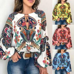 Womens Tunic Floral Ladies V-neck T-Shirt Long Sleeve Tops Jumper Plus Size Boho