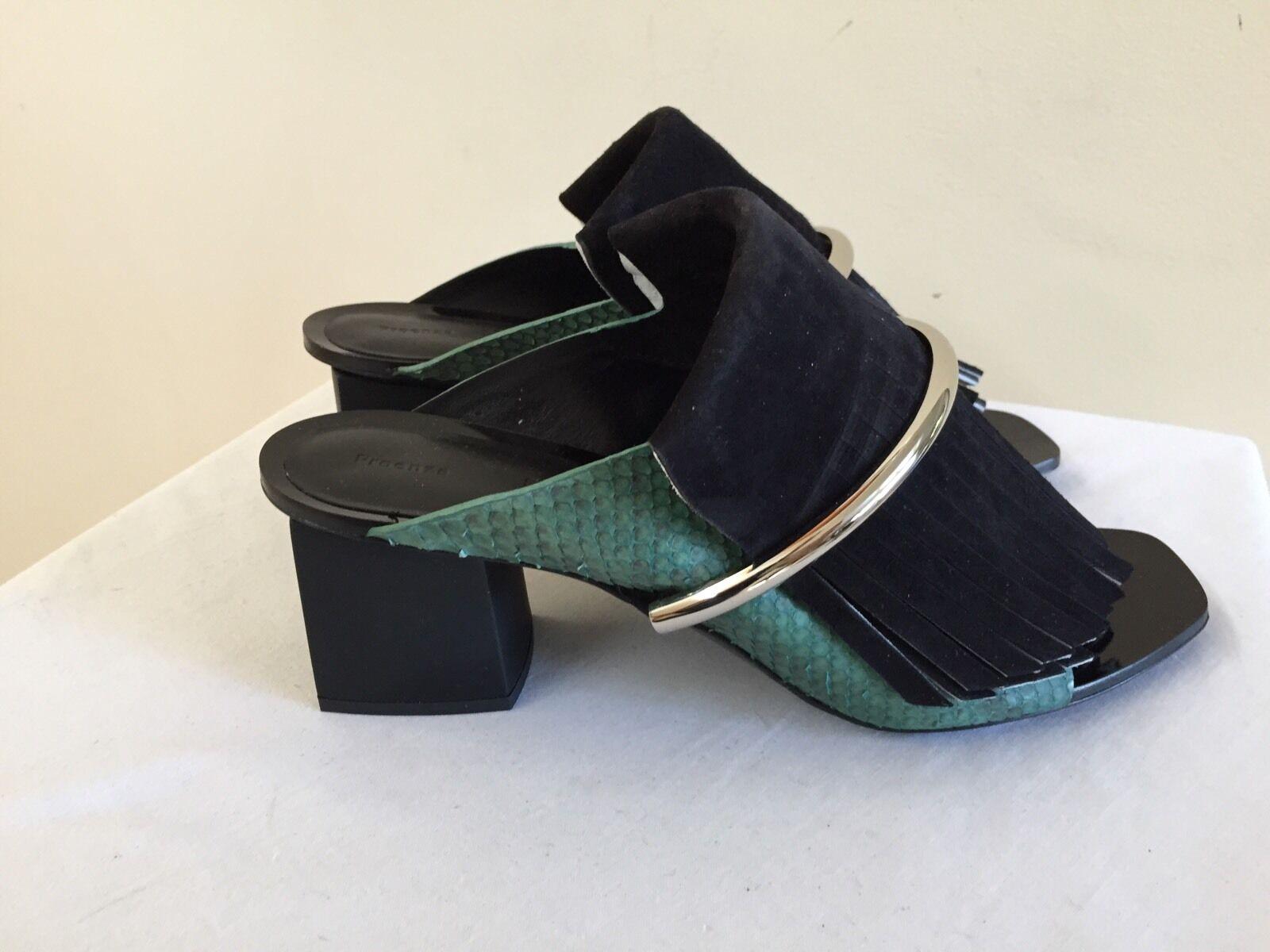 New w/o Box PROENZA SCHOULER Black Suede Python Fringe Mules Shoes 39/9