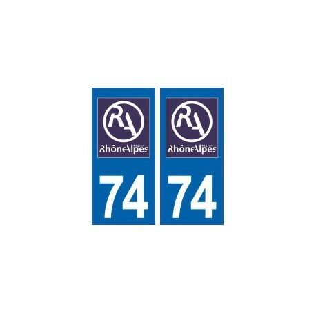 74 Haute Savoie Rhône Alpes nouveau logo autocollant plaque -  Angles : arrondis