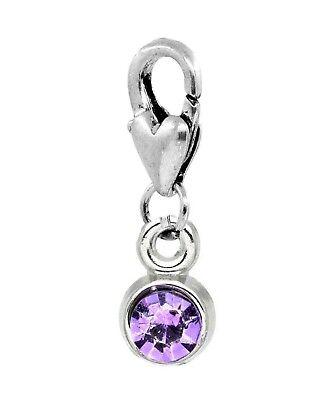 Purple Rhinestone Flower February Birthstone Dangle Bead for Euro Charm Bracelet