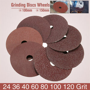 50pcs-4-039-039-100mm-Fibre-Sanding-Grinding-Discs-Wheels-24-120Grit-For-Angle-Grinder