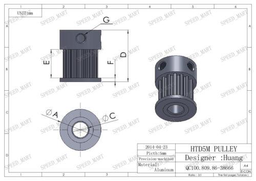 Polea de Correa Distribución 5M10T HTD5M 10 dientes 16mm Ancho Tipo K motor paso a paso