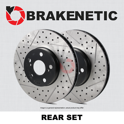 REAR SET BRAKENETIC PREMIUM Drilled Slotted Brake Disc Rotors BNP47015.DS