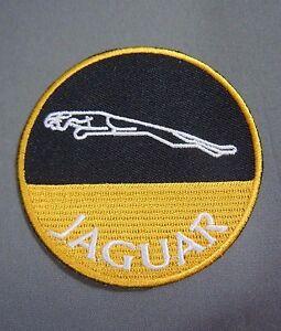 jaguar cars w leaping cat gold black iron on british automotive car patch 3. Black Bedroom Furniture Sets. Home Design Ideas