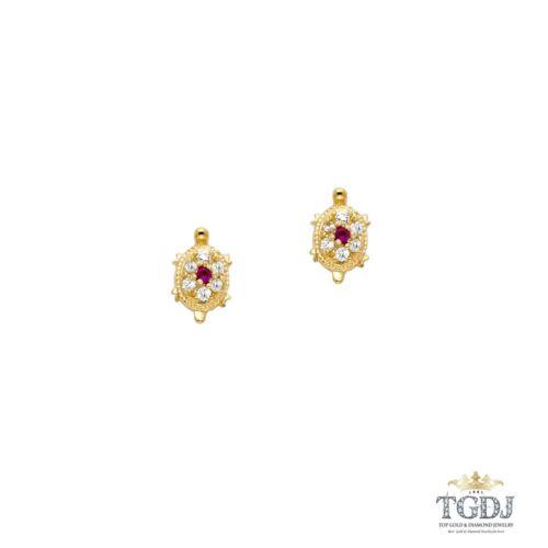 Tortue Rubis Cz Boucles D/'oreille 14k or jaune à vis-Dos Femmes Bijoux