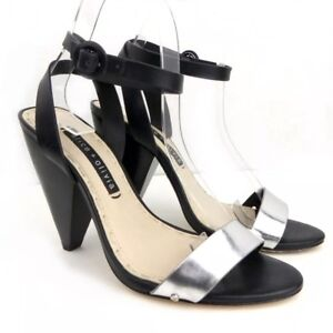 1cd04420d75 Image is loading Alice-Olivia-Cici-Black-Silver-Metallic-Ankle-Strap-