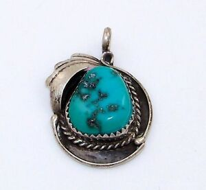 Sterling-Silver-Native-American-Turquoise-Nugget-Pendant-Signed-PN