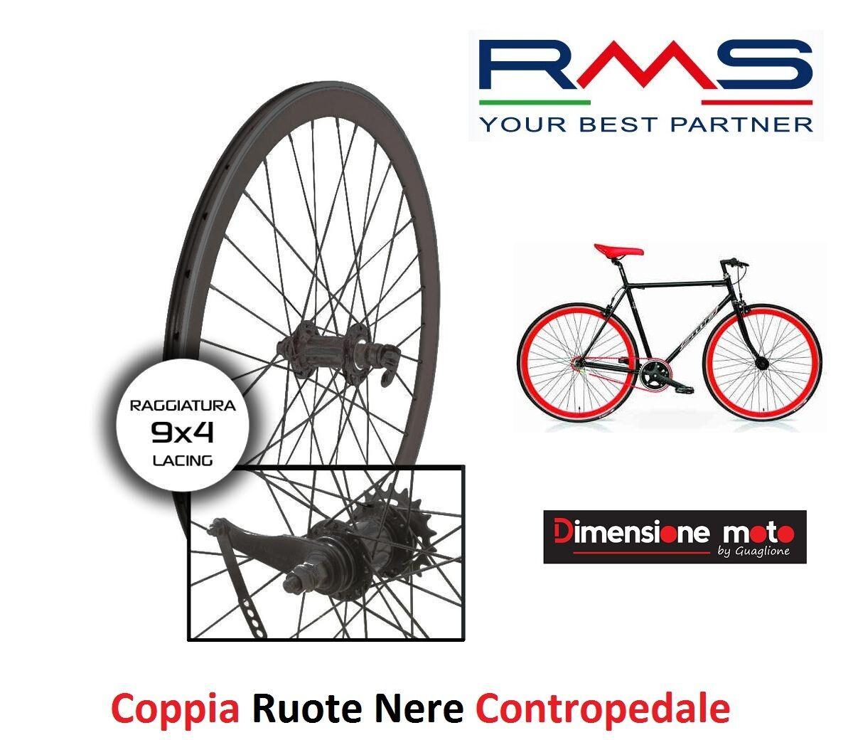 CP Ruote Nere Fixed Contropedale 700 Profilo V 40mm per Bici 28 Single Speed