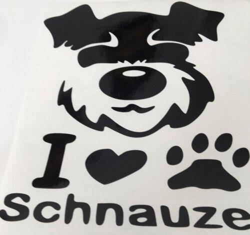 Voiture Décalque//Autocollant pour fenêtres pare-chocs Panneaux ou ordinateur portable I LOVE Schnauzer