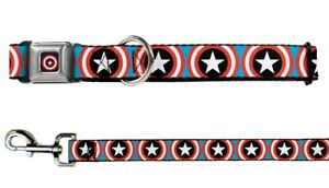 Buckle-Down-Seatbelt-Dog-Collar-or-Leash-Marvel-Captain-America-Shield-S-M-L