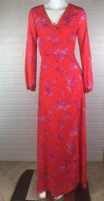 7c9eaa89ee8 NWT Gianni Bini XS Wrap Dress Blossoms Floral Print Orange Pink Maxi  Plunging