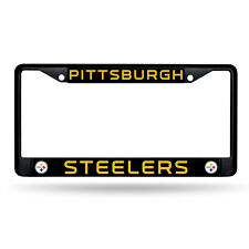 New NFL Pittsburgh Steelers Car Truck Black Chrome Metal License Plate Frame