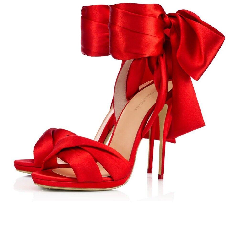 2018 Women Peep Toe Stiletto Heel Black Red Satin Sandals Dress Heels Big Size