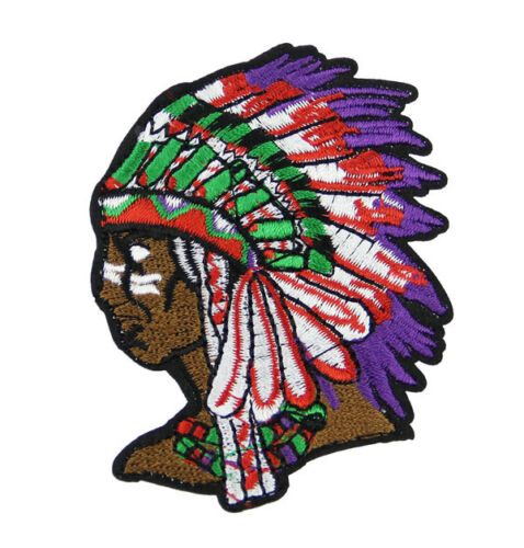 Indian Chief Head Design Embroidered Iron On Patch Applique Sewing DIY Badge