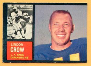 1962-Topps-Football-87-Lindon-Crow-VG-EX-Lot-701-Los-Angeles-Rams