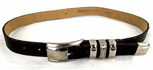 Streets-Ahead-Belt-Brown-Leather-Silver-Tone-Buckle-Womens-Med-27-31-034