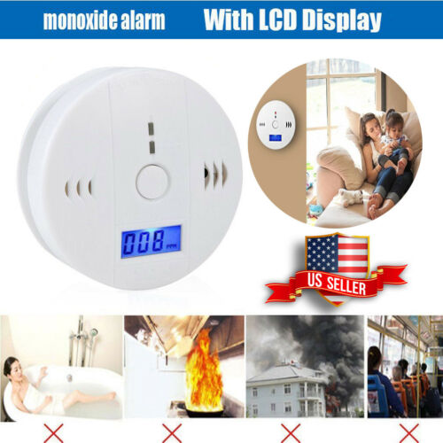 CO Carbon Monoxide Detector Alarm Sound Sensor Battery Operated Home LCD Display