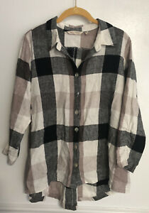 Soft-Surroundings-Womens-Shirt-Top-Plaid-Button-Down-Zip-Back-Linen-Medium