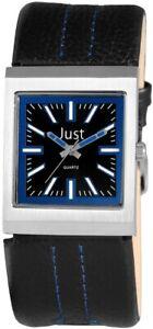 Just-Damenuhr-Schwarz-Blau-Analog-Echt-Leder-Quarz-Armbanduhr-X48S2300BKBL