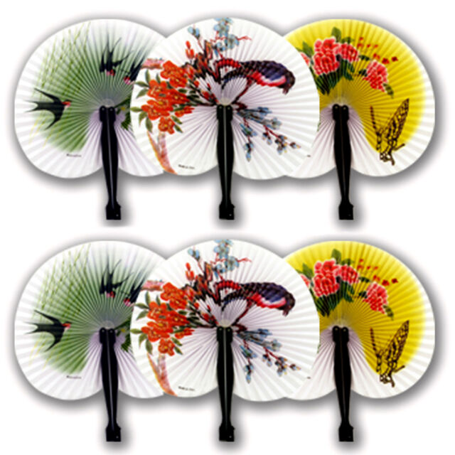 6 CHINESE FOLDING PAPER FANS GIRL TOY FAVOR PARTY BAG CHRISTMAS STOCKING FILLER