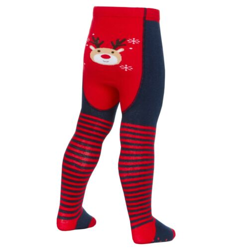 Baby Girls Christmas Patterned Bum Tights  Anti Slip Grips 0-24 months