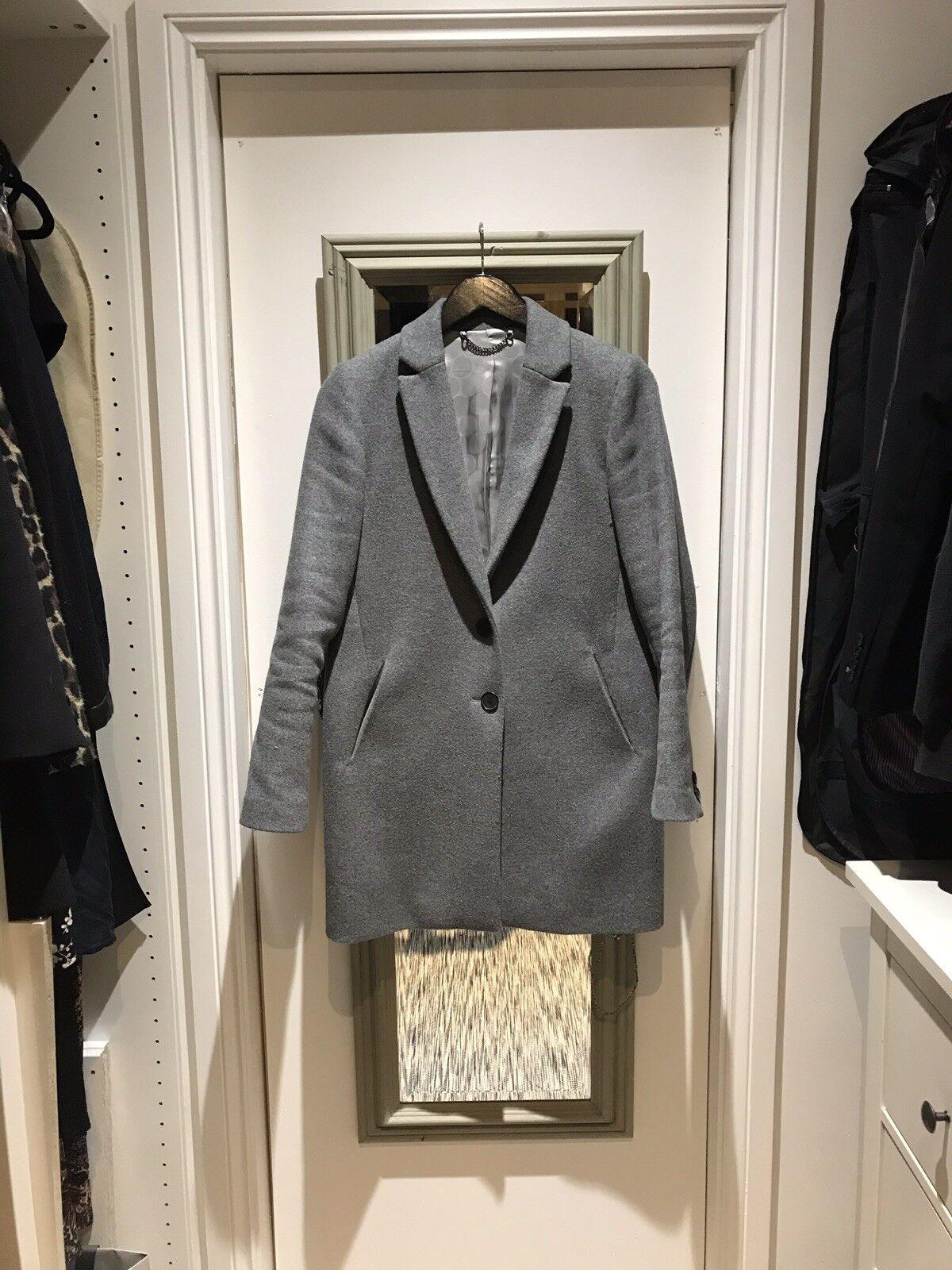 Jigsaw Grey Compact Wool Crombie Style Coat Size UK8