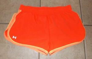 UNDER-ARMOUR-HEATGEAR-Athletic-Orange-Large-12-14-Elastic-Waist-Running-Shorts