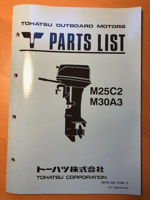 Tohatsu M25c2 M30a3 Outboard Motors Parts List Manual Oct 1996 Ebay