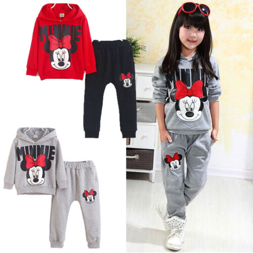 Pants Kids Baby Girls Minnie Mouse Clothes Outfits Set Sweatshirt Hoodie Tops