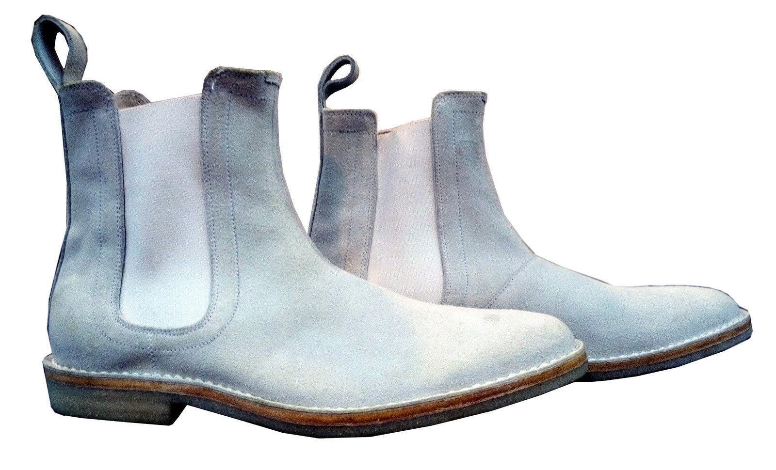 Gli uomini pelle fatti a mano vera pelle uomini scamosciata Scarpe Chelsea Stivali Casual Bianco 1c9ded